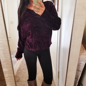 Sweaters - Chenille Dolman Sleeve Plush Purple Sweater